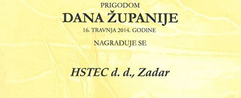 Annual award of the Zadar County to the company HSTEC d.d.